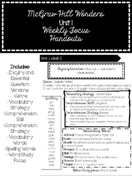 McGraw Hill Wonders Weekly Focus Handout -FIFTH GRADE UNIT 1-