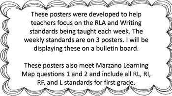First Grade McGraw-Hill Wonders Weekly Reading Posters with Standards
