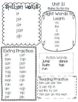 McGraw Hill Wonders Word List Unit 3 week 1 Kindergarten