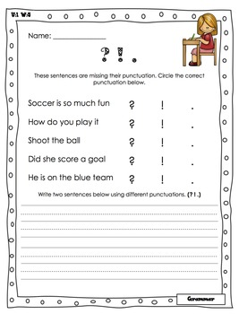 Wonders Writing and Grammar 1st Grade Unit 1 Week 5