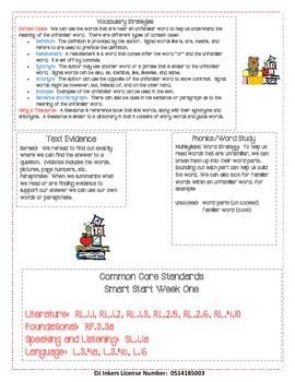McGraw Hill WondersMini Focus Walls Smart Start 4th Grade Week One