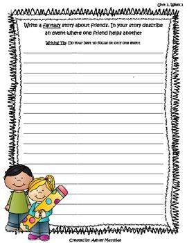 McGraw Hill Wonders Unit 1 Writing Prompts - 2nd Grade