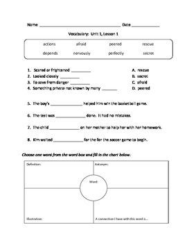McGraw Hills Wonders, Grade 2, Vocabulary Practice Worksheets, Unit 1