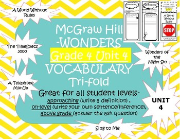 McGraw Hills wonders Grade 4 unit 4 Vocabulary practice TriFolds