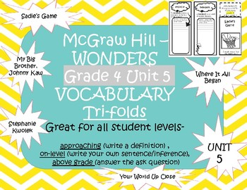 McGraw Hills wonders Grade 4 unit 5 Vocabulary practice TriFolds