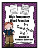 High Frequency Word Practice for Second Grade Unit 1