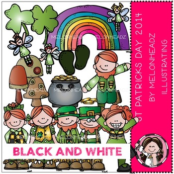 McGuire's St Patrick's Day clip art - BLACK AND WHITE- by Melonheadz