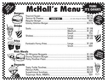 McHall's Menu