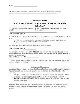 """Mcgraw Hill Reading Wonders """"A Window into History"""" study guide"""