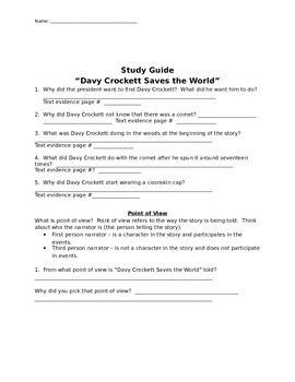 "Mcgraw Hill Reading Wonders ""Davy Crockett Saves the World"" study guide"