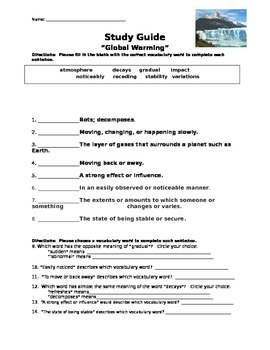 """Mcgraw Hill Reading Wonders """"Global Warming"""" study guide"""