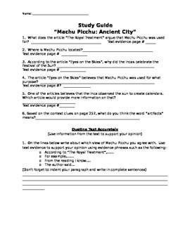 "Mcgraw Hill Reading Wonders ""Machu Picchu:Ancient City"" study guide"