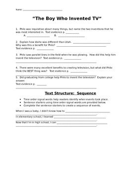 """Mcgraw Hill Reading Wonders """"The Boy Who Invented TV"""" study guide"""