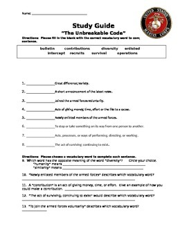 """Mcgraw Hill Reading Wonders """"The Unbreakable Code"""" study guide"""