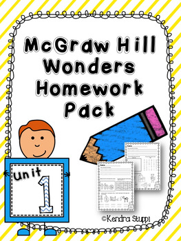 Mcgraw Hill Wonders Kindergarten Homework Bundle Units 1-1