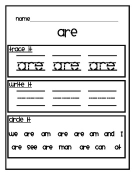 Mcgraw Hill Wonders -Sight Words! (40 words)- Trace it! Write it! Circle it!