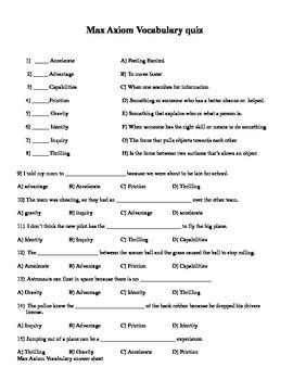 Mcgraw-hill Wonders Reading 4th grade Max Axiom Comprehension test Vocab test