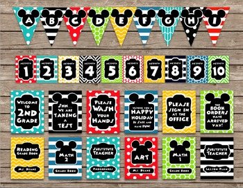 Mickey Mouse Inspired Editable Classroom Decor Package