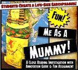 Me As A Mummy! Egyptian Mummification Lesson & Reading Aci