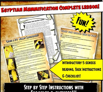 Me As A Mummy! Egyptian Mummification Lesson & Reading Acitvity Set