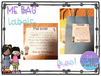 Me Bags Label  with Clue Recording Sheet- Editable