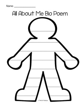 """Me"" Bio Poem Pack: Planning Template and Body Concrete Bio Poem Templates"