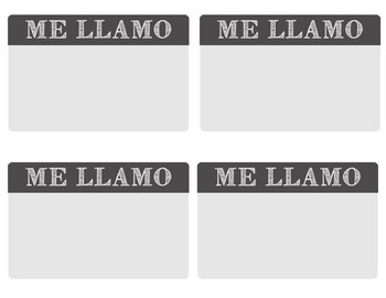 """Me Llamo"" stickers for first days of Spanish class!"