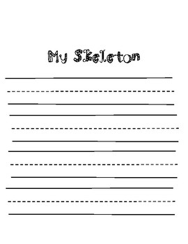 Me Skeleton Writing Page