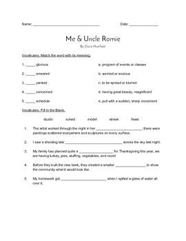 """""""Me & Uncle Romie"""" QUIZ (Journeys Grade 4 Reader)"""