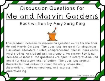 Me and Marvin Gardens Discussion Question Cards