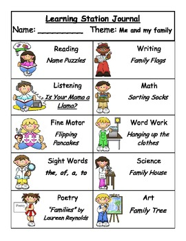 Me and My Family Learning Stations
