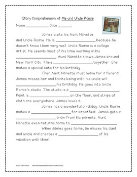 Me and Uncle Romie Supplemental Activities 4th Grade Journeys Unit 2, Lesson 8