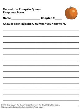 Me and the Pumpkin Queen Novel Study