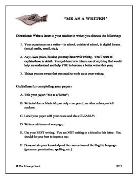 """Me as a Writer"" - An Opening Week Writing Assignment/Portfolio Starter"