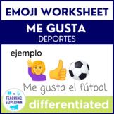 Spanish Me gusta Deportes (Sports) Emoji Puzzles Worksheets