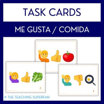 Spanish Food Vocab Task Cards (Me gusta la comida) Emoji Puzzles