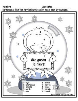 Me gusta la nieve. - Spanish color by number for winter (6 pages)