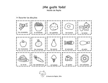 Me gusta todo Food Categorizing Spanish Printable Activity