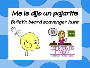 Me lo dijo un pajarito - Bulletin board scavenger hunt