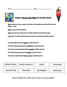 Me on the Map Ice Cream Cone Geography Craftivity