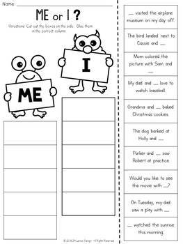 Me or I? Cut and Paste Sorting Activity