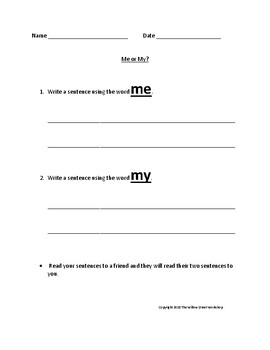 Sight Word Me and My cut and paste and Me or My sentence writing page