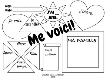 """Me voici"" FSL First Day Graphic Organizer"