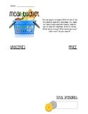 Meal Budget Math Worksheet
