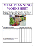 Meal & Grocery Plan for Health, Nutrition, FACS; Graphic Organizer Worksheet