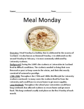 Meal Monday - Scotland holiday - February - lesson review questions information