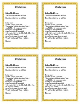 Meal Prayers for the Liturgical Year