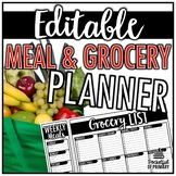 Meal and Grocery Planner   EDITABLE