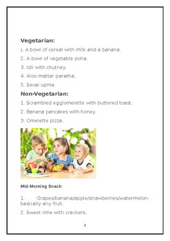 Meal plan for toddlers