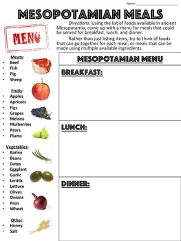 Meals in Mesopotamia Worksheet